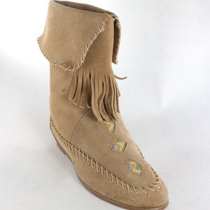 Suede Leather Fringe Indian Style Slip Ankle Boots